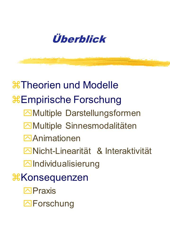 Theorien und Modelle zPaivio (1986) zMayer (1997) zSchnotz & Bannert (1999) zSchnotz, Seufert & Bannert (2000)