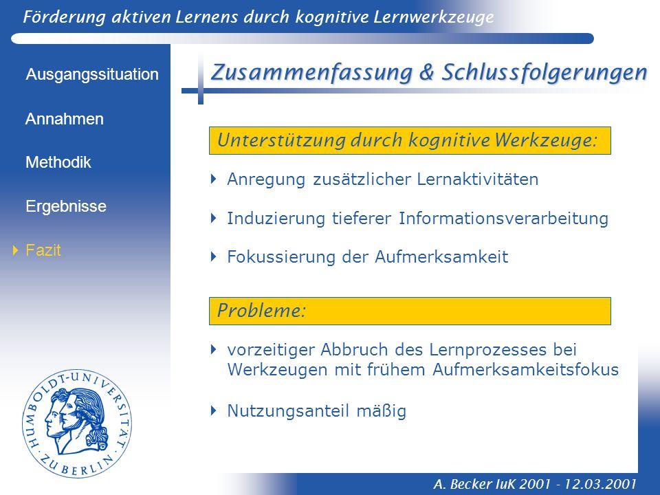 Förderung aktiven Lernens durch kognitive Lernwerkzeuge A. Becker IuK 2001 - 12.03.2001 Zusammenfassung & Schlussfolgerungen Ausgangssituation Methodi