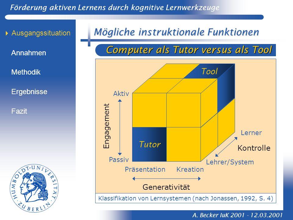 Förderung aktiven Lernens durch kognitive Lernwerkzeuge A. Becker IuK 2001 - 12.03.2001 versus als Tool Mögliche instruktionale Funktionen Generativit
