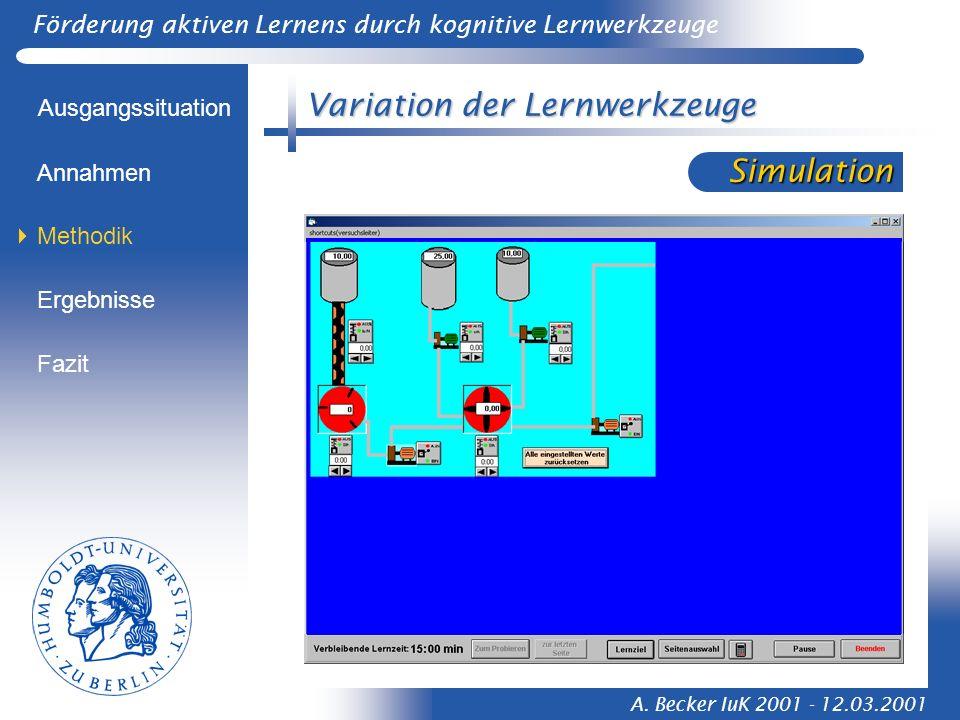 Förderung aktiven Lernens durch kognitive Lernwerkzeuge A. Becker IuK 2001 - 12.03.2001 Variation der Lernwerkzeuge Ausgangssituation Methodik Ergebni