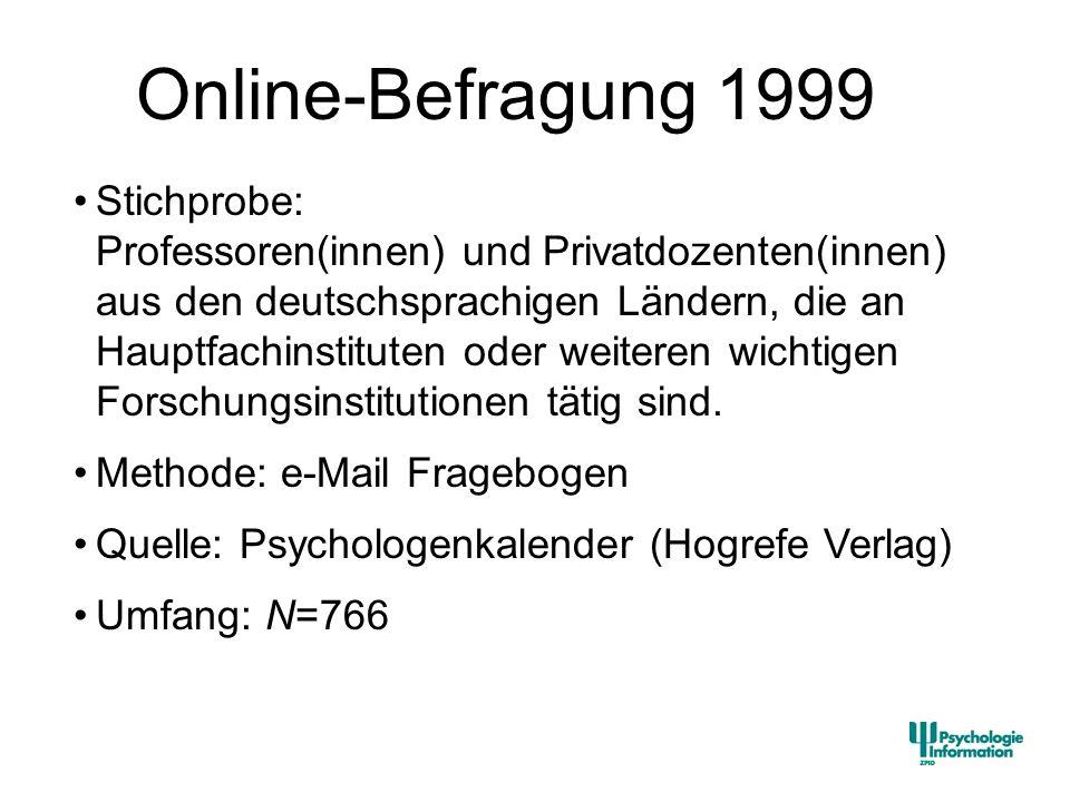 Stichprobe: Professoren(innen) und Privatdozenten(innen) aus den deutschsprachigen Ländern, die an Hauptfachinstituten oder weiteren wichtigen Forschu