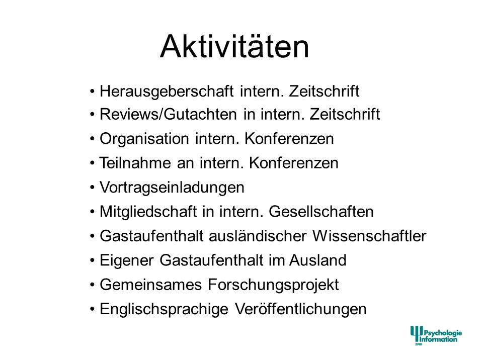 Aktivitäten Englischsprachige Veröffentlichungen Herausgeberschaft intern. Zeitschrift Reviews/Gutachten in intern. Zeitschrift Organisation intern. K