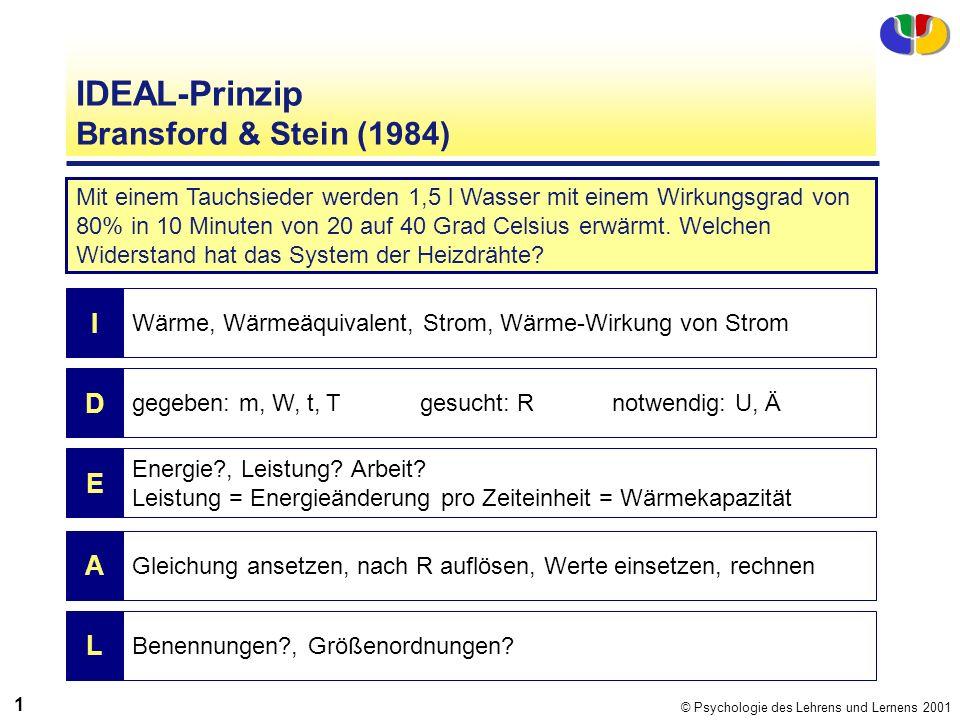 © Psychologie des Lehrens und Lernens 2001 1313 IDEAL-Prinzip Bransford & Stein (1984) Mit einem Tauchsieder werden 1,5 l Wasser mit einem Wirkungsgra