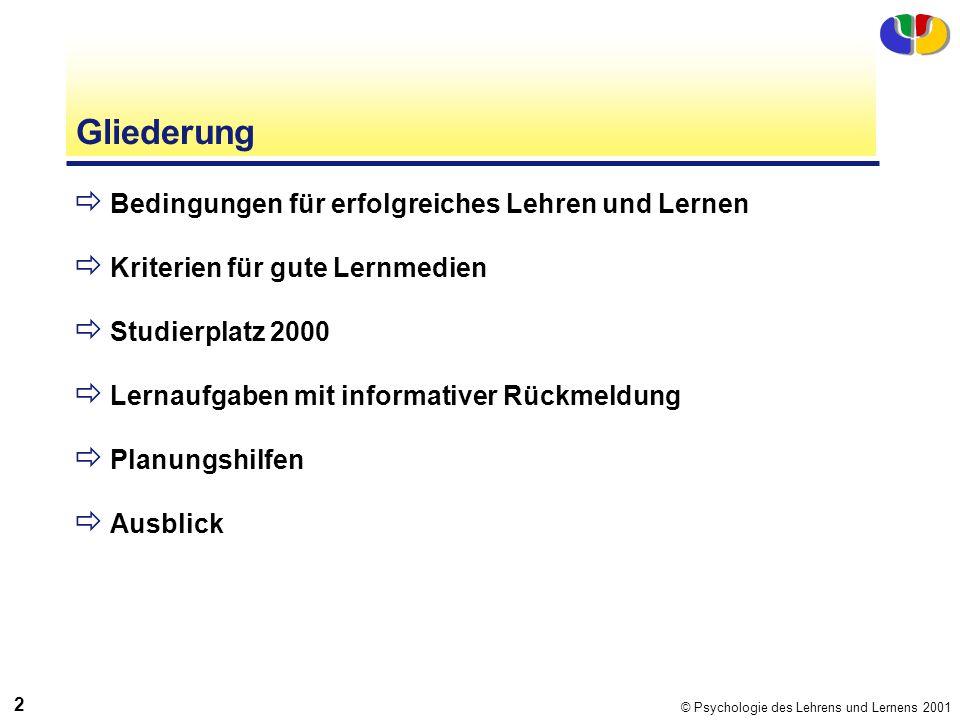 © Psychologie des Lehrens und Lernens 2001 2 Gliederung Bedingungen für erfolgreiches Lehren und Lernen Kriterien für gute Lernmedien Studierplatz 200