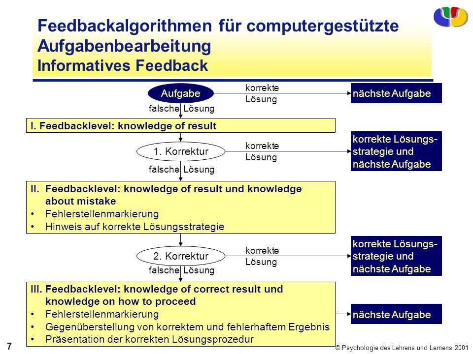 © Psychologie des Lehrens und Lernens 2001 7 Feedbackalgorithmen für computergestützte Aufgabenbearbeitung Informatives Feedback Aufgabe I. Feedbackle