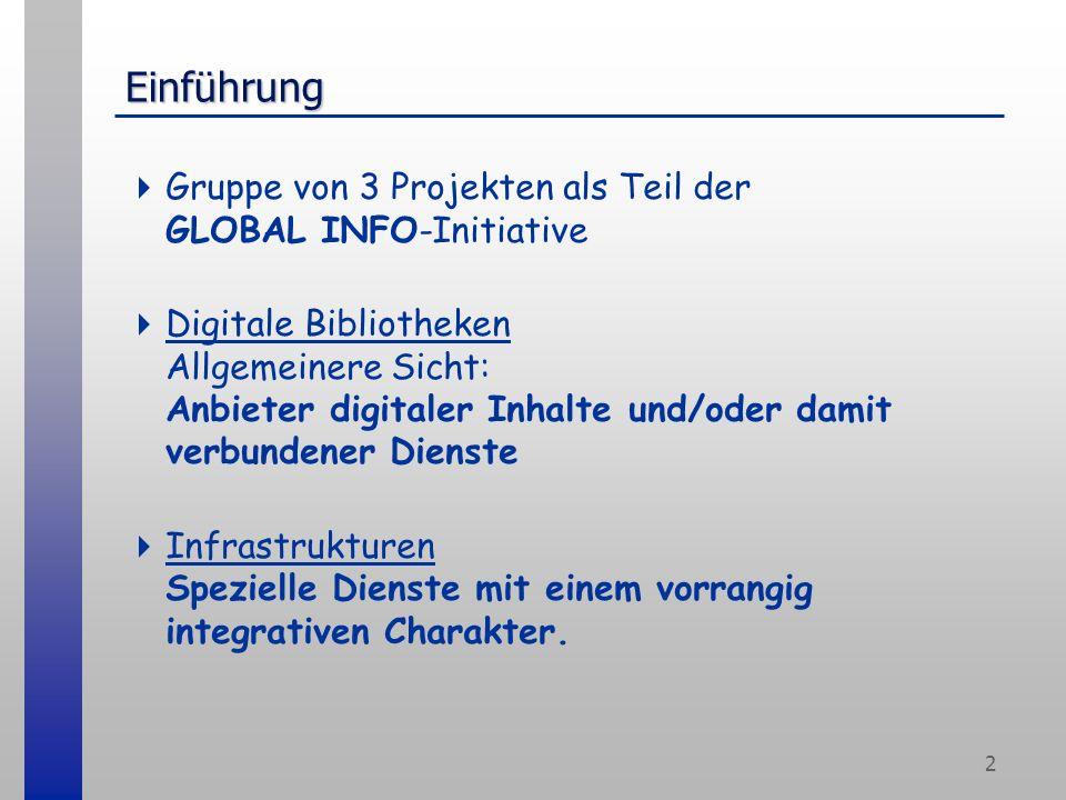 2 Einführung Gruppe von 3 Projekten als Teil der GLOBAL INFO-Initiative Digitale Bibliotheken Allgemeinere Sicht: Anbieter digitaler Inhalte und/oder damit verbundener Dienste Infrastrukturen Spezielle Dienste mit einem vorrangig integrativen Charakter.