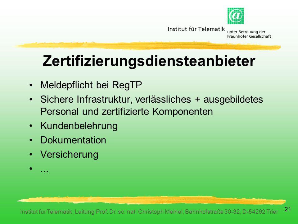 Institut für Telematik, Leitung Prof. Dr. sc. nat.