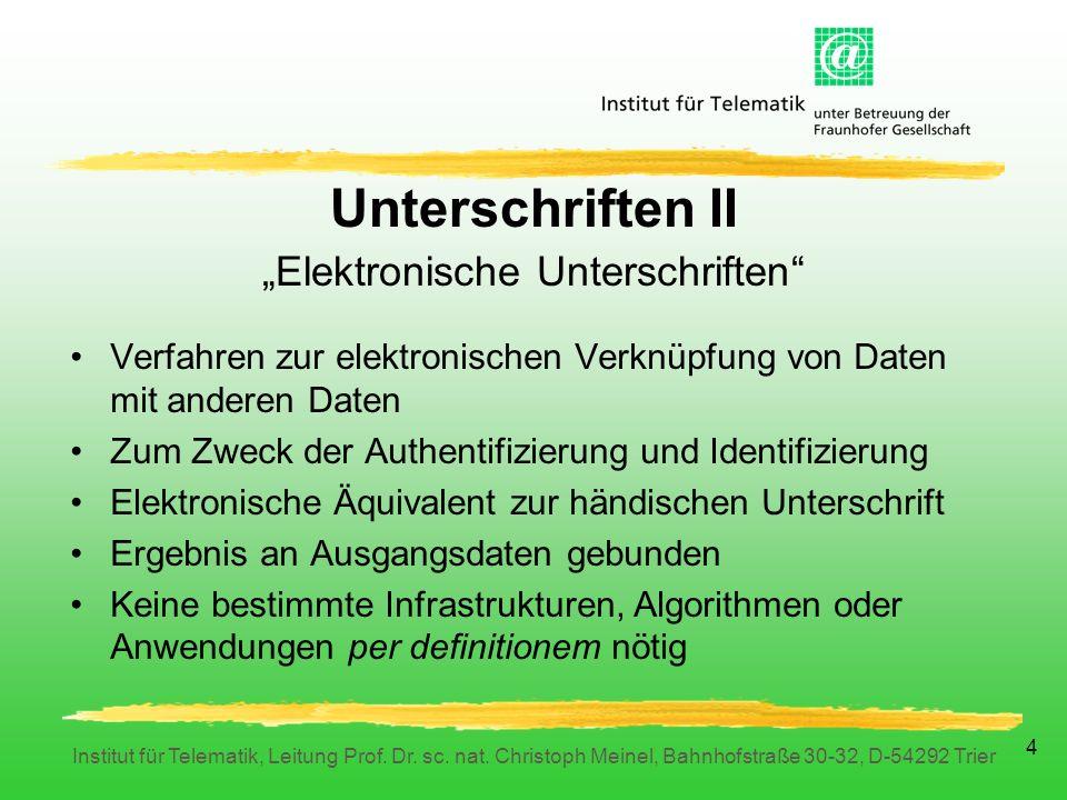 Institut für Telematik, Leitung Prof.Dr. sc. nat.