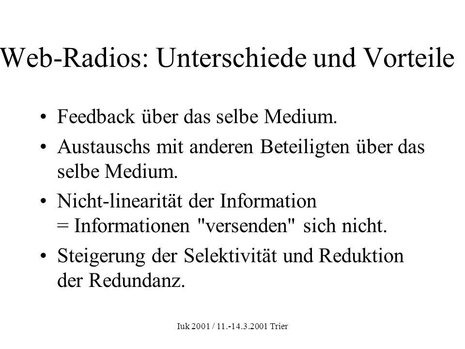 Iuk 2001 / 11.-14.3.2001 Trier Web-Radios: Unterschiede und Vorteile Feedback über das selbe Medium. Austauschs mit anderen Beteiligten über das selbe