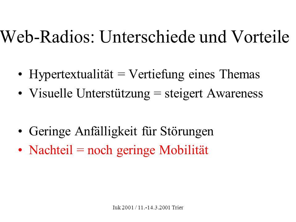 Iuk 2001 / 11.-14.3.2001 Trier Web-Radios: Unterschiede und Vorteile Hypertextualität = Vertiefung eines Themas Visuelle Unterstützung = steigert Awar