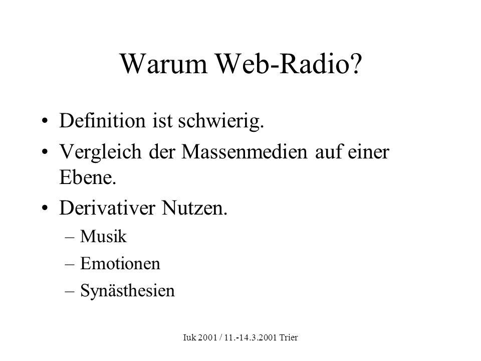 Iuk 2001 / 11.-14.3.2001 Trier Warum Web-Radio? Definition ist schwierig. Vergleich der Massenmedien auf einer Ebene. Derivativer Nutzen. –Musik –Emot