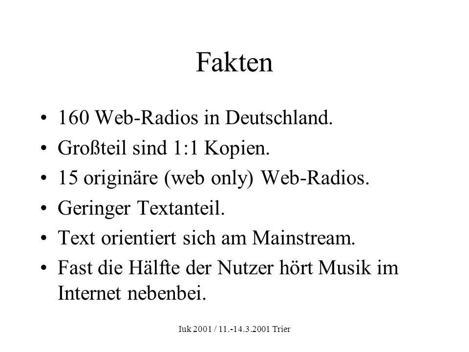 Iuk 2001 / 11.-14.3.2001 Trier Fakten 160 Web-Radios in Deutschland. Großteil sind 1:1 Kopien. 15 originäre (web only) Web-Radios. Geringer Textanteil