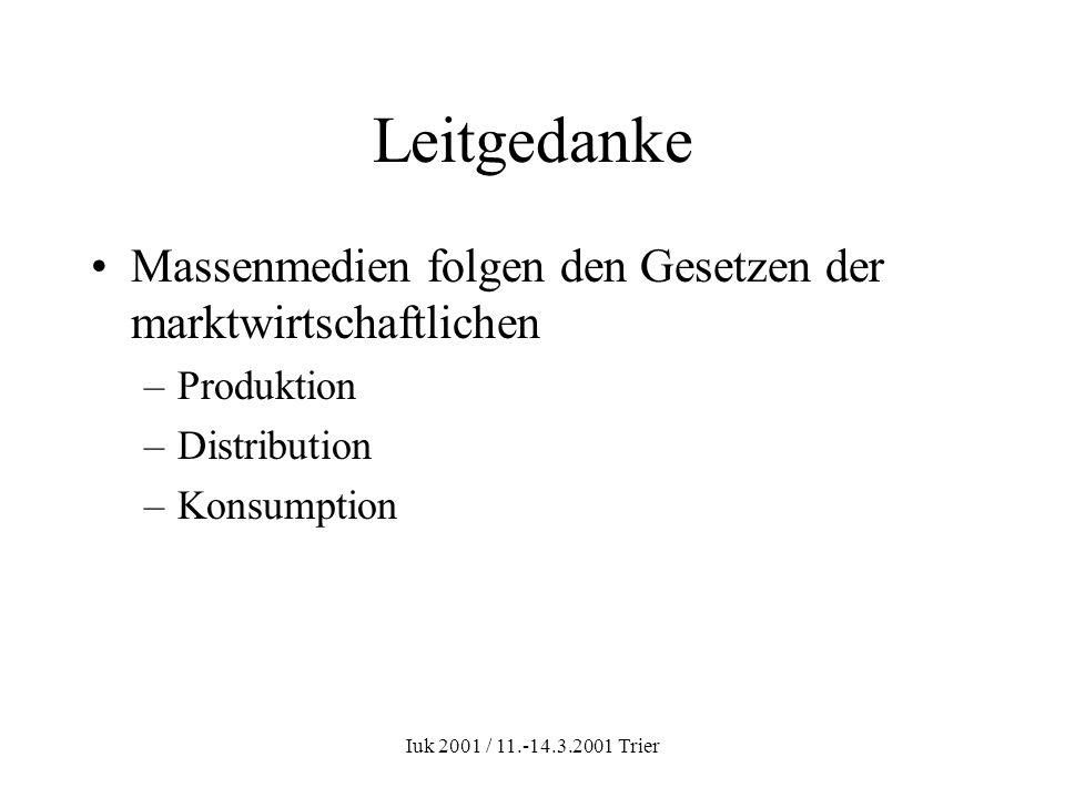 Iuk 2001 / 11.-14.3.2001 Trier Leitgedanke Massenmedien folgen den Gesetzen der marktwirtschaftlichen –Produktion –Distribution –Konsumption