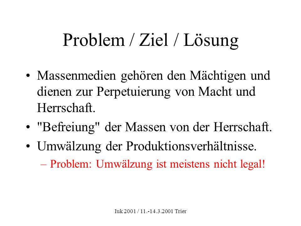 Iuk 2001 / 11.-14.3.2001 Trier Problem / Ziel / Lösung Massenmedien gehören den Mächtigen und dienen zur Perpetuierung von Macht und Herrschaft.
