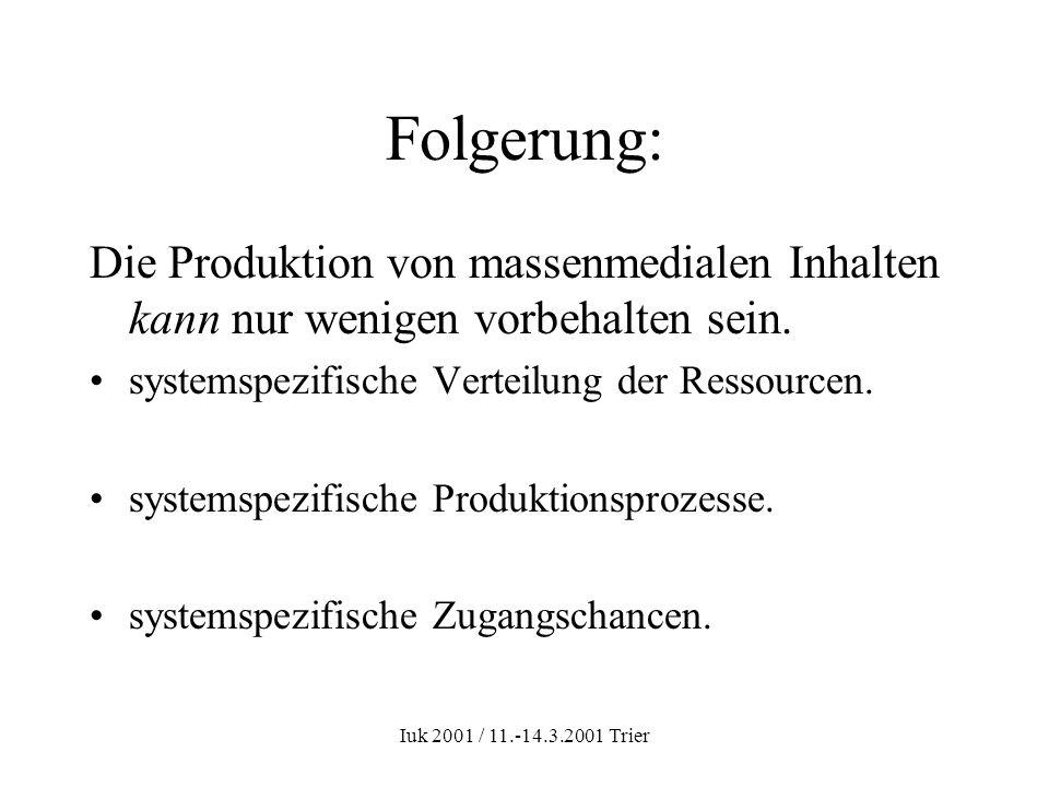 Iuk 2001 / 11.-14.3.2001 Trier Folgerung: Die Produktion von massenmedialen Inhalten kann nur wenigen vorbehalten sein. systemspezifische Verteilung d