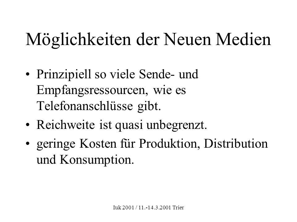 Iuk 2001 / 11.-14.3.2001 Trier Möglichkeiten der Neuen Medien Prinzipiell so viele Sende- und Empfangsressourcen, wie es Telefonanschlüsse gibt. Reich