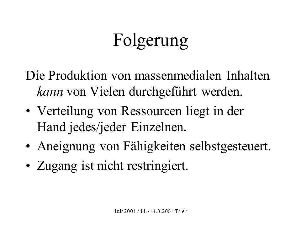 Iuk 2001 / 11.-14.3.2001 Trier Massenmedialer Kommunikationsprozess one to many Sender (konkretes Individuum) Empfänger (disperse Masse) Botschaft Kein Feedback
