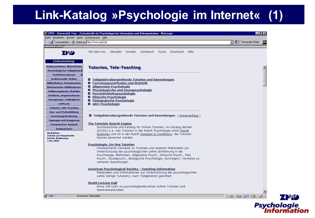 Link-Katalog »Psychologie im Internet« (1)
