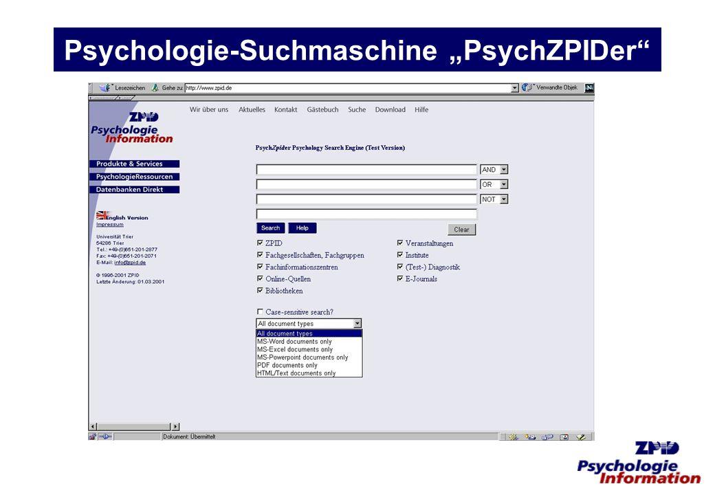Psychologie-Suchmaschine PsychZPIDer