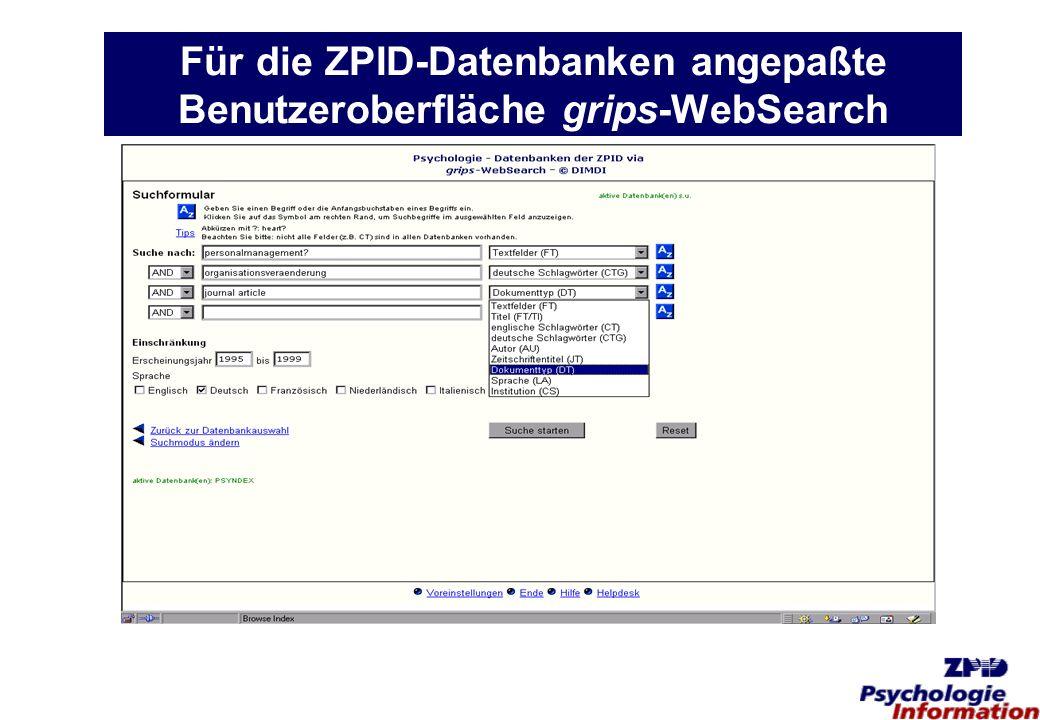 Für die ZPID-Datenbanken angepaßte Benutzeroberfläche grips-WebSearch