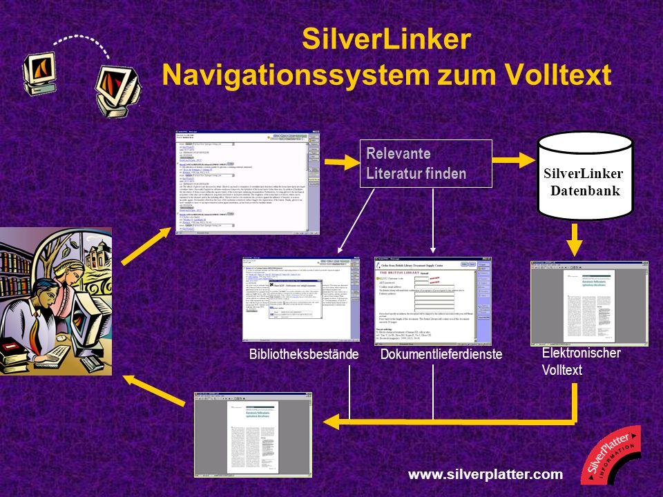 www.silverplatter.com SilverLinker Navigationssystem zum Volltext Relevante Literatur finden SilverLinker Datenbank BibliotheksbeständeDokumentlieferdienste Elektronischer Volltext