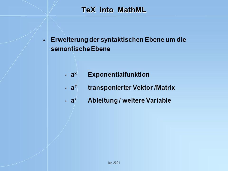 Iuk 2001 TeX into MathML Erweiterung der syntaktischen Ebene um die semantische Ebene a x Exponentialfunktion a T transponierter Vektor /Matrix a Ableitung / weitere Variable
