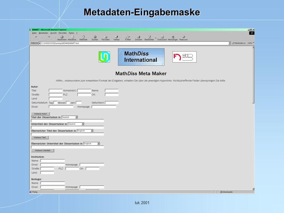 Iuk 2001 Metadaten-Eingabemaske