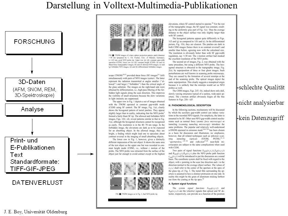 Darstellung in Volltext-Multimedia-Publikationen J. E. Boy, Universität Oldenburg -schlechte Qualität -nicht analysierbar -kein Datenzugriff