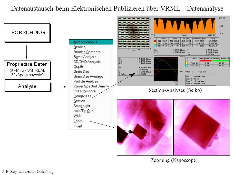 Datenaustausch beim Elektronischen Publizieren über VRML – Datenanalyse Section-Analyses (Seiko) Zooming (Nanoscope) J. E. Boy, Universität Oldenburg