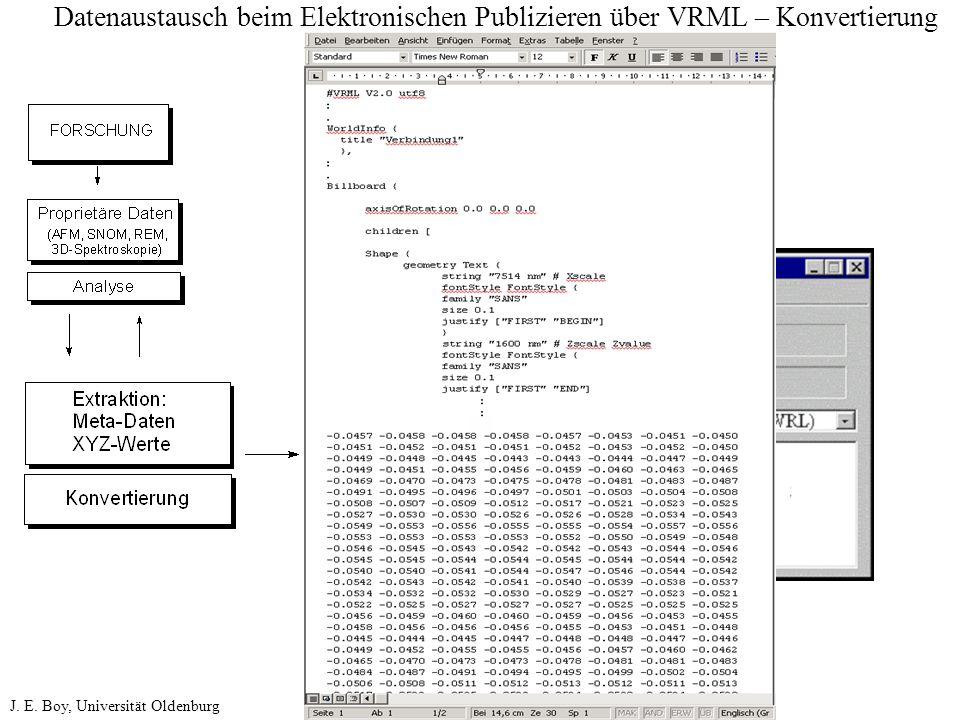 Datenaustausch beim Elektronischen Publizieren über VRML – Konvertierung J. E. Boy, Universität Oldenburg