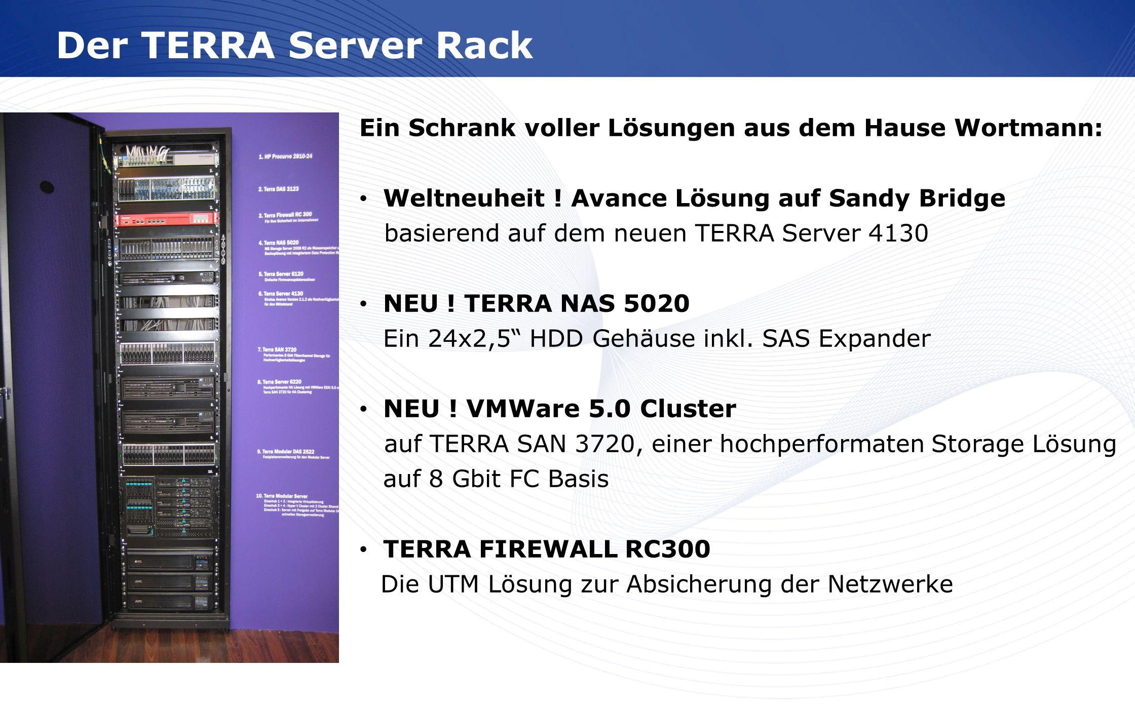 www.wortmann.de Der TERRA Server Rack Ein Schrank voller Lösungen aus dem Hause Wortmann: Weltneuheit ! Avance Lösung auf Sandy Bridge basierend auf d