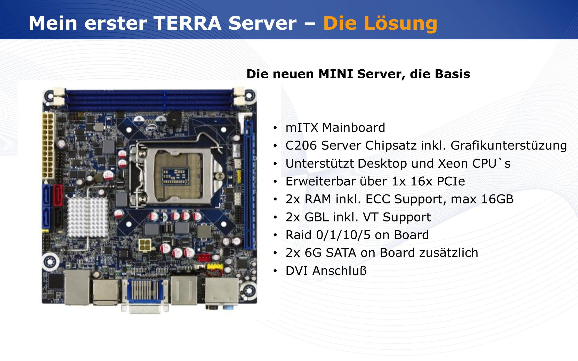 www.wortmann.de Mein erster TERRA Server – Die Lösung Die neuen MINI Server, die Basis mITX Mainboard C206 Server Chipsatz inkl. Grafikunterstüzung Un