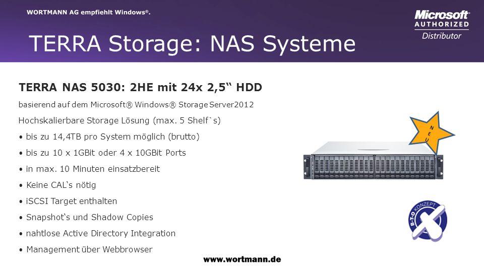 TERRA Storage: NAS Systeme TERRA NAS 5030: 2HE mit 24x 2,5 HDD basierend auf dem Microsoft® Windows® Storage Server2012 Hochskalierbare Storage Lösung (max.