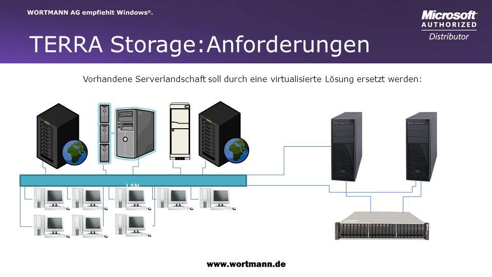 TERRA Storage:Anforderungen Vorhandene Serverlandschaft soll durch eine virtualisierte Lösung ersetzt werden: LAN