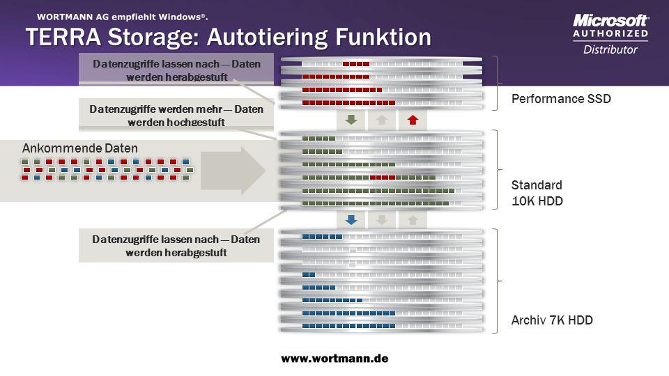 Datenzugriffe lassen nach Daten werden herabgestuft Datenzugriffe werden mehr Daten werden hochgestuft Ankommende Daten Performance SSD Standard 10K HDD Archiv 7K HDD TERRA Storage: Autotiering Funktion
