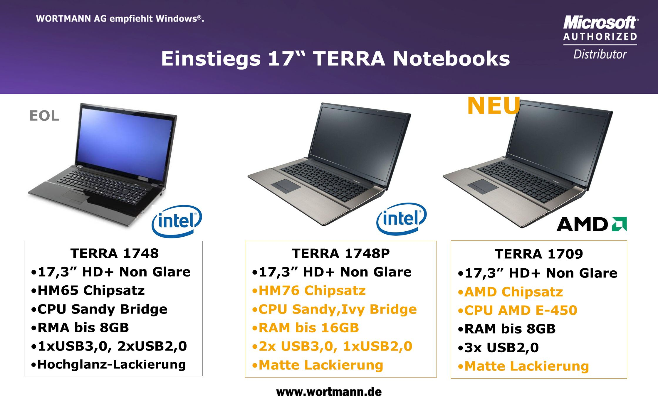 www.wortmann.de Einstiegs 17 TERRA Notebooks TERRA 1748 17,3 HD+ Non Glare HM65 Chipsatz CPU Sandy Bridge RMA bis 8GB 1xUSB3,0, 2xUSB2,0 Hochglanz- La
