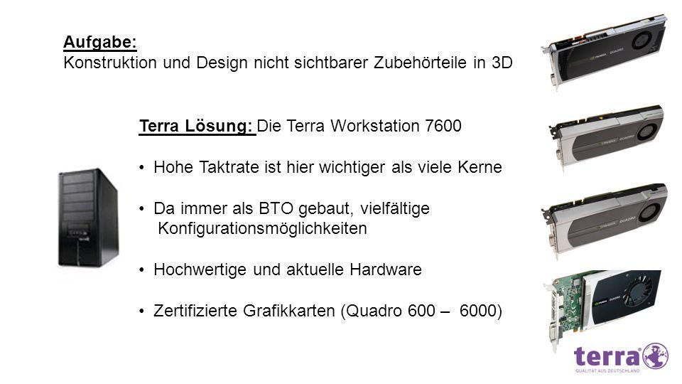 Aufgabe: Konstruktion und Design nicht sichtbarer Zubehörteile in 3D Terra Lösung: Die Terra Workstation 7600 Hohe Taktrate ist hier wichtiger als vie