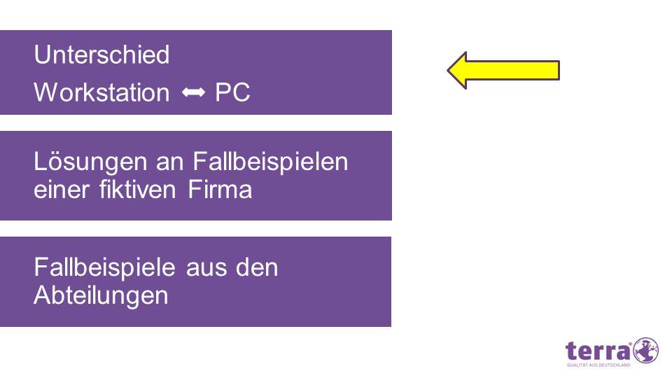 Unterschied Workstation PC WorkstationPC CPU Speicher Grafikkarte Hoch getaktet, viele Cores Viel (> 8 GB) Zertifiziert Normal bis schnell 4 – 8 GB Onboard Leistung Einsatzgebiete- Konstruktion - Design - Professionelle Bildbearbeitung - Filmproduktion - etc.