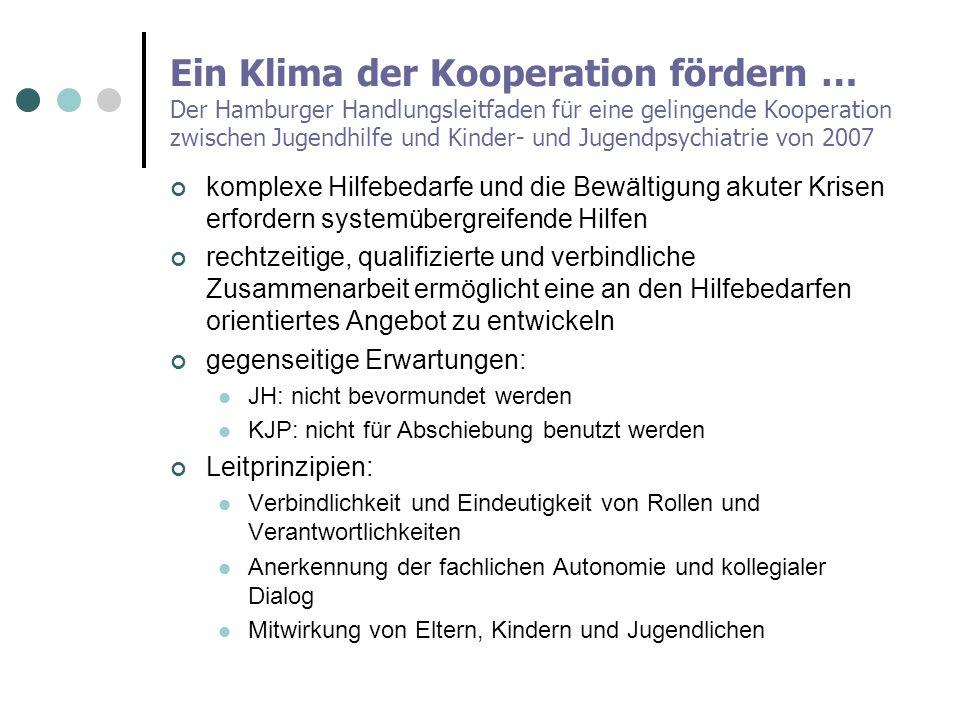 Ein Klima der Kooperation fördern … Der Hamburger Handlungsleitfaden für eine gelingende Kooperation zwischen Jugendhilfe und Kinder- und Jugendpsychi