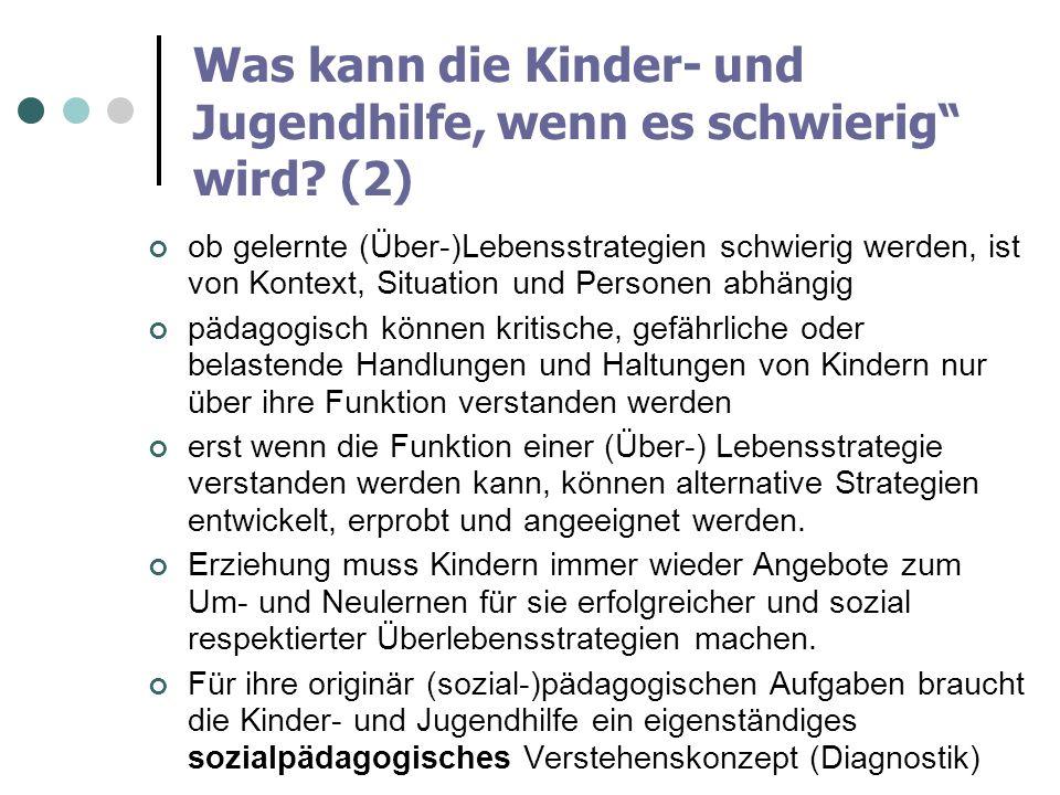 Was kann die Kinder- und Jugendhilfe, wenn es schwierig wird? (2) ob gelernte (Über-)Lebensstrategien schwierig werden, ist von Kontext, Situation und