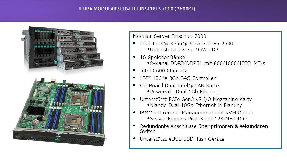 TERRA MODULAR SERVER EINSCHUB 7000 (2600KI) Modular Server Einschub 7000 Dual Intel® Xeon® Prozessor E5-2600 Unterstützt bis zu 95W TDP 16 Speicher Bä