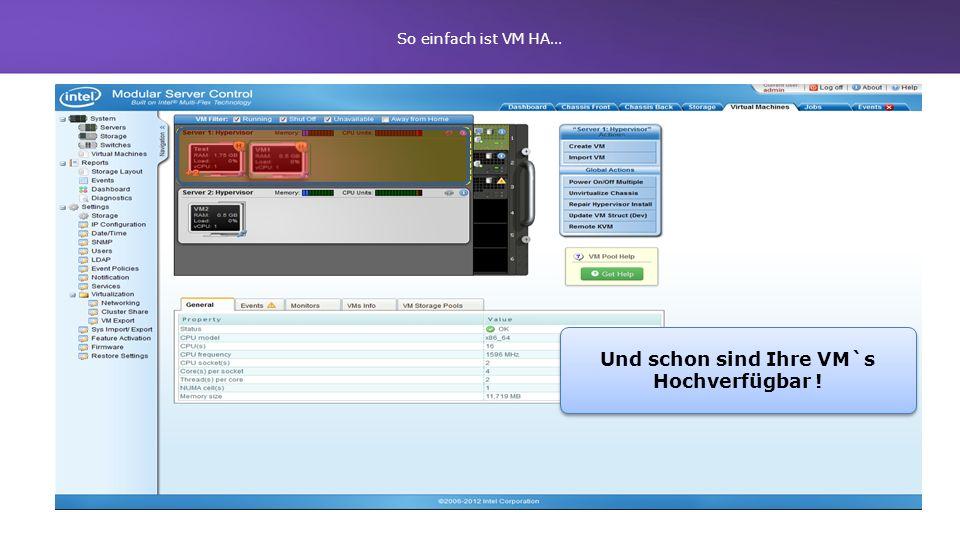 Und schon sind Ihre VM`s Hochverfügbar ! So einfach ist VM HA…
