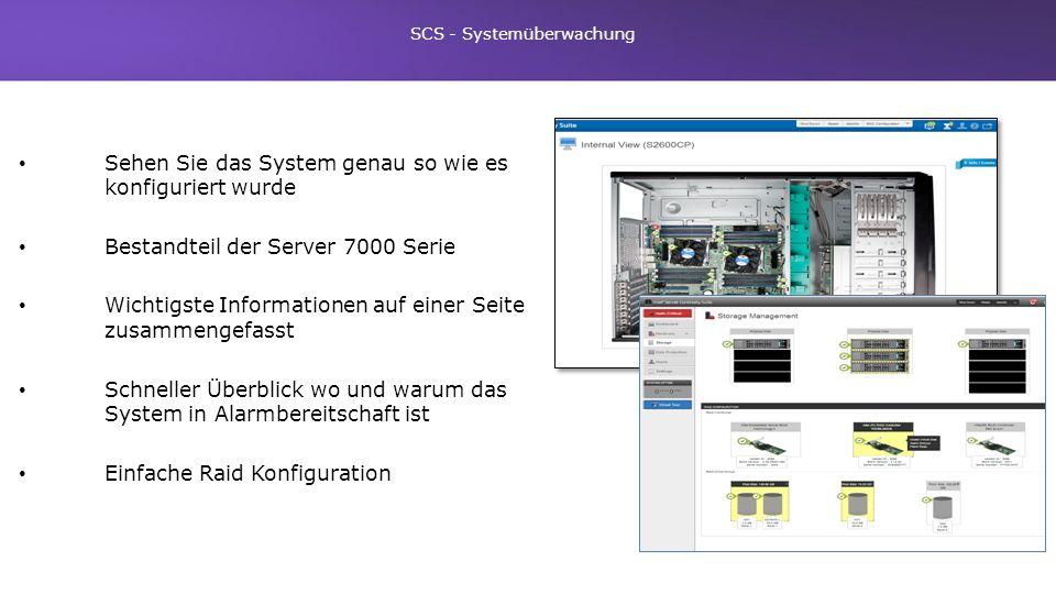 Sehen Sie das System genau so wie es konfiguriert wurde Bestandteil der Server 7000 Serie Wichtigste Informationen auf einer Seite zusammengefasst Sch