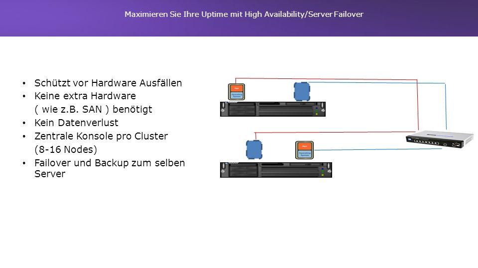 Maximieren Sie Ihre Uptime mit High Availability/Server Failover Schützt vor Hardware Ausfällen Keine extra Hardware ( wie z.B. SAN ) benötigt Kein Da