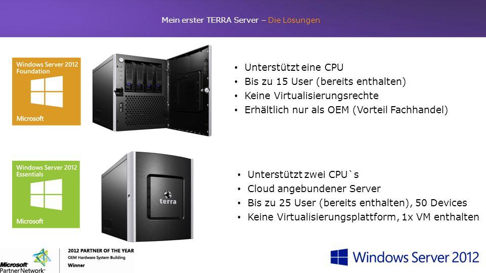 Mein erster TERRA Server – Die Lösungen Unterstützt eine CPU Bis zu 15 User (bereits enthalten) Keine Virtualisierungsrechte Erhältlich nur als OEM (V