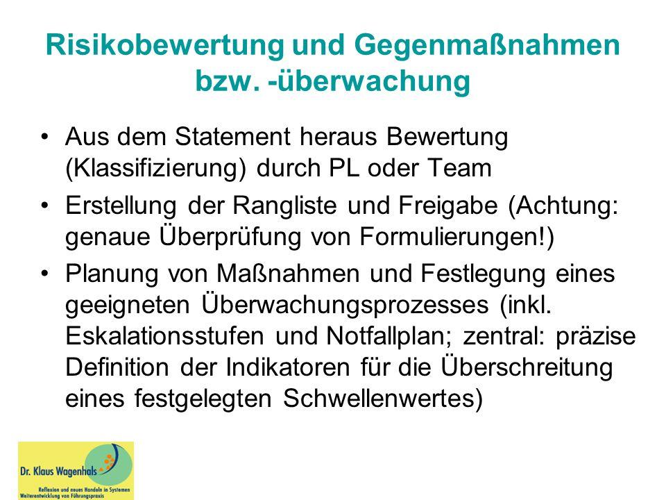 Risikobewertung und Gegenmaßnahmen bzw. -überwachung Aus dem Statement heraus Bewertung (Klassifizierung) durch PL oder Team Erstellung der Rangliste