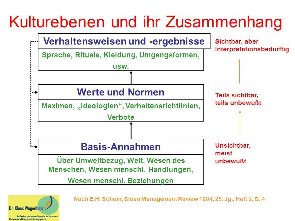 Kulturebenen und ihr Zusammenhang Nach E.H. Schein, Sloan Management Review 1984, 25. Jg., Heft 2, S. 4 Verhaltensweisen und -ergebnisse Sprache, Ritu