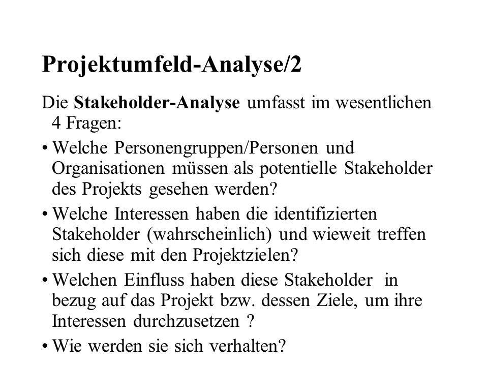 Projektumfeld-Analyse/3 Üblicherweise werden zur Beantwortung dieser Fragen Checklisten verwendet, die wiederum auf Befragungen, Analyse von Material zum Umfeld u.ä.
