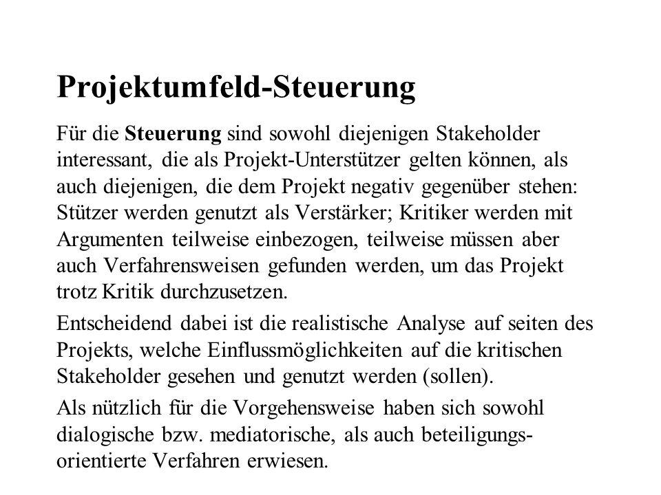 Projektumfeld-Steuerung Für die Steuerung sind sowohl diejenigen Stakeholder interessant, die als Projekt-Unterstützer gelten können, als auch diejeni