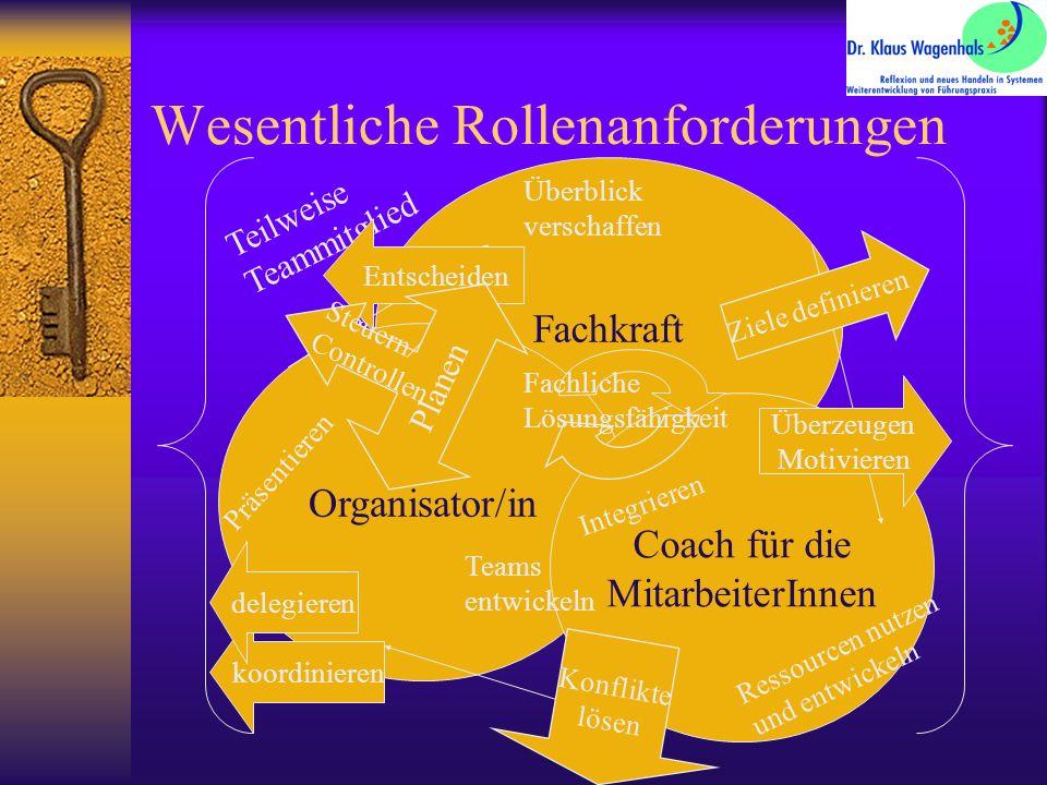 Wesentliche Rollenanforderungen Fachkraft Organisator/in Coach für die MitarbeiterInnen Teilweise Teammitglied Ziele definieren Überblick verschaffen Entscheiden Planen Steuern/ Controllen Überzeugen Motivieren Integrieren Konflikte lösen Ressourcen nutzen und entwickeln Teams entwickeln Fachliche Lösungsfähigkeit koordinieren delegieren Präsentieren